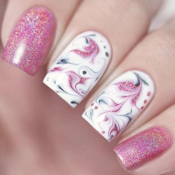 Marble Pink Glitter Nails Pictures, Photos, and Images for