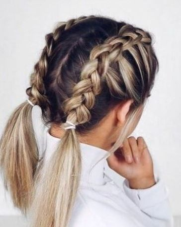 how to style your hair with braids half braided pigtails pictures photos and images for 6803 | 327128 Half braided Pigtails