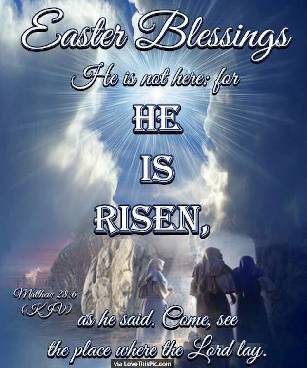 easter blessings he is risen religious quote pictures