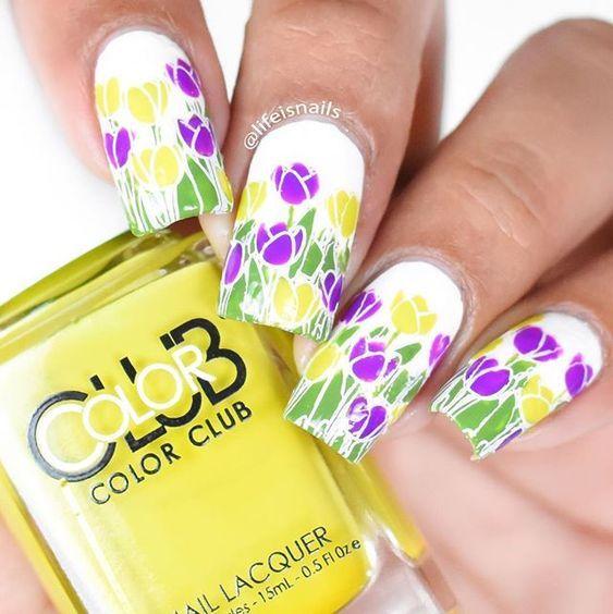 327954 Yellow Purple Tulip Nails