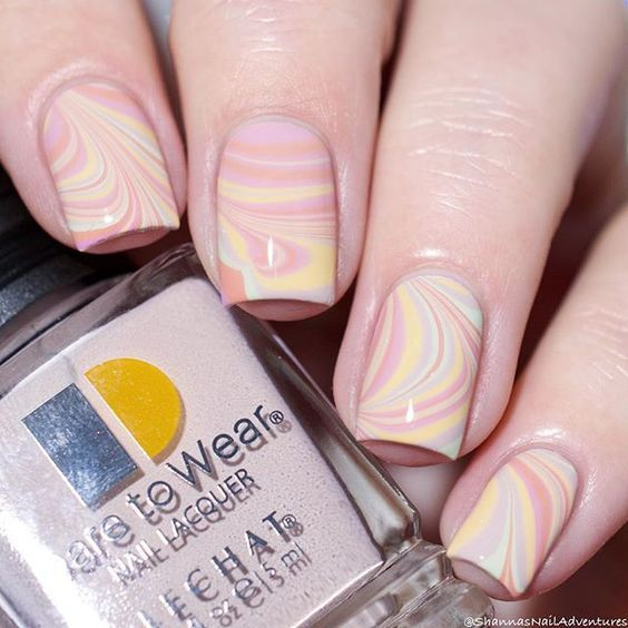 Pink And Yellow Marble Nails Pictures, Photos, and Images for ...