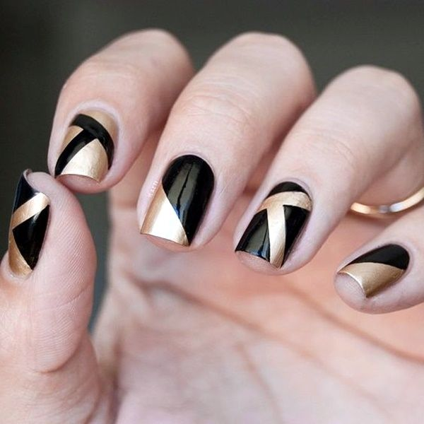 Black Gold Designed Nails Pictures Photos And Images For