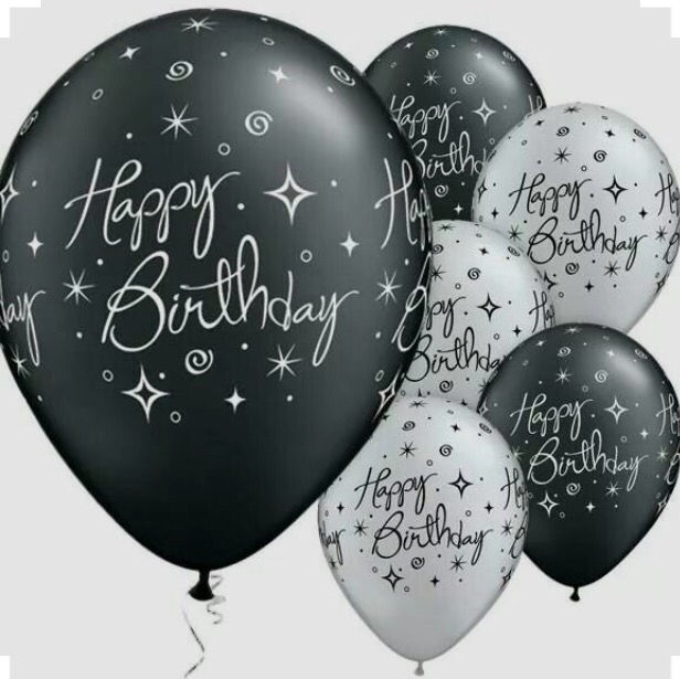 Black And White Happy Birthday Balloons