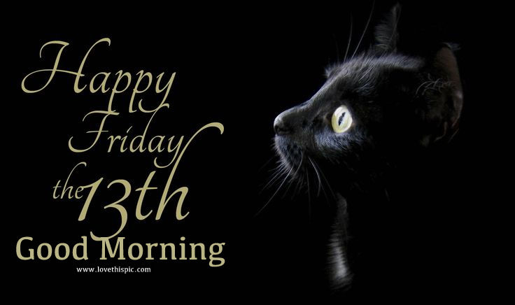 black cat happy friday the 13th good morning image