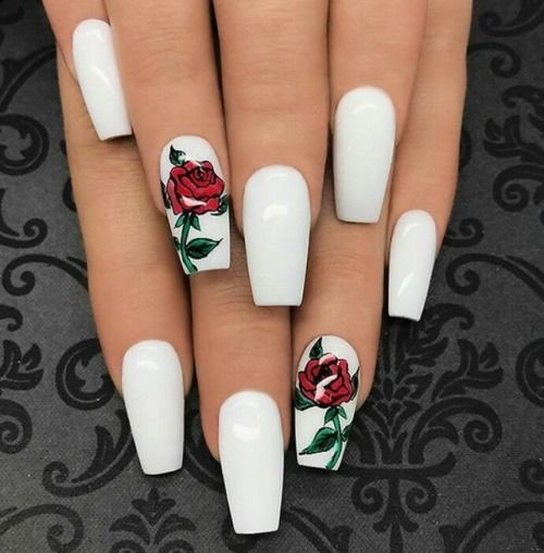 25 Best Ideas About White Nails On Pinterest: White Nails With Rose Design Pictures, Photos, And Images