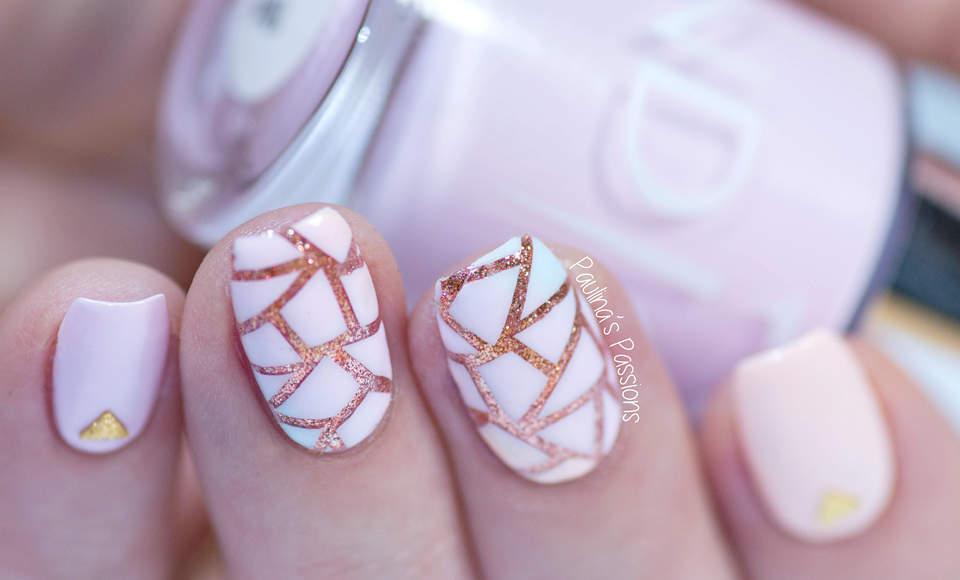 pastel rose gold nails geometric pictures photos and