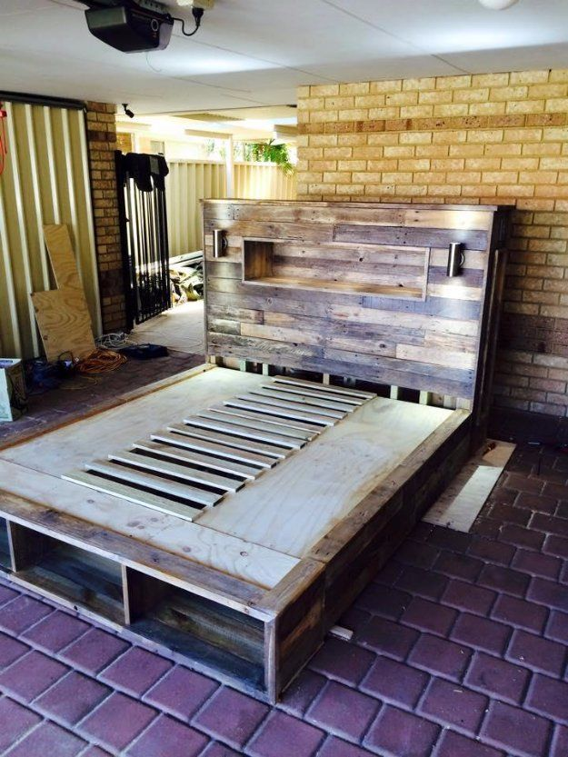 Diy pallet bed with headboard and lights pictures photos for Pallet bed frame with lights pinterest