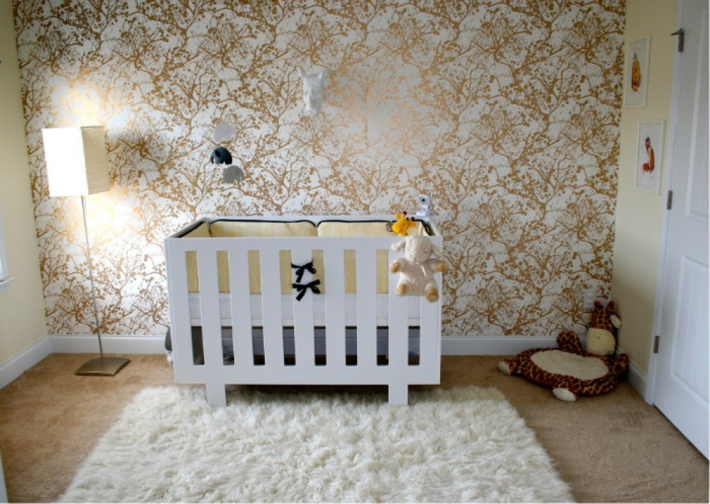 Bold Metallic Nursery Wallpaper Pictures Photos And