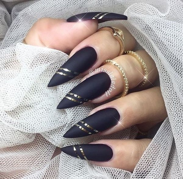Gold Wrapped Black Stiletto Nails Pictures Photos And Images For Facebook Tumblr Pinterest