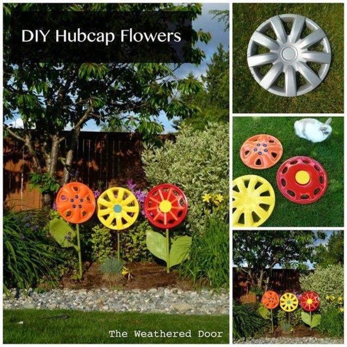 Hubcap Flower Garden Decor