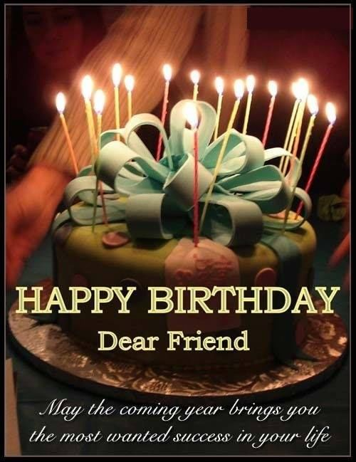 Lit Cake Happy Birthday Dear Friend Image