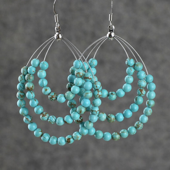 Hoop Earrings Are Handmade Using Turquoise