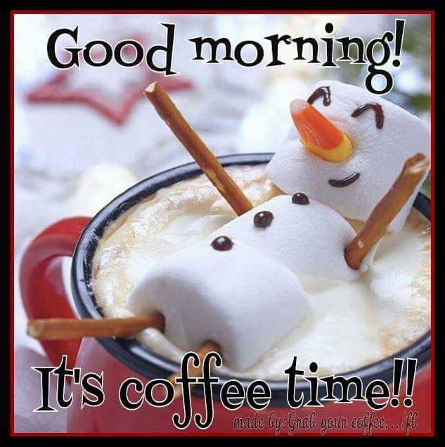 Marshmallow Snowman Good Morning Coffee Time Quote