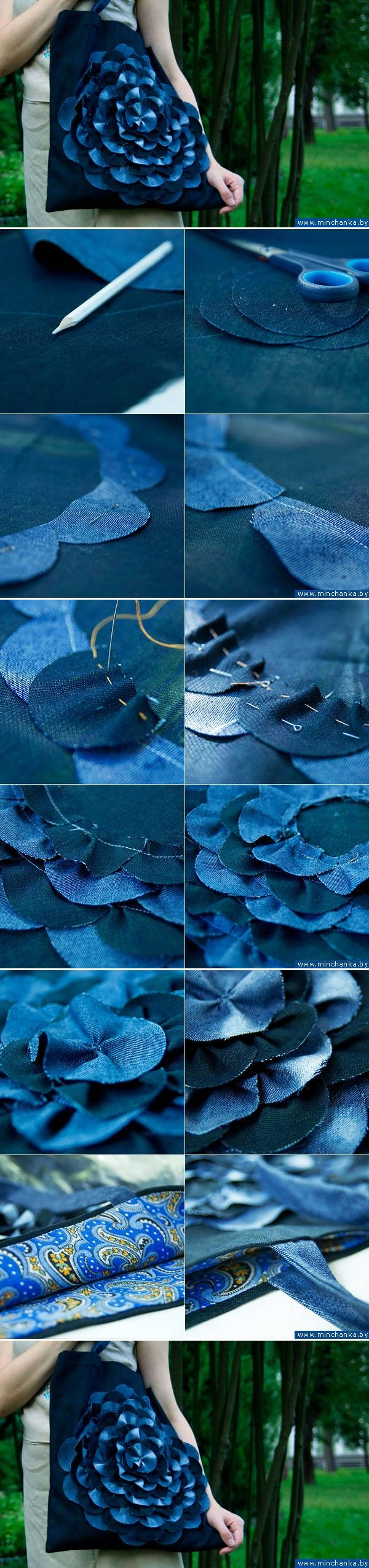 Diy denim flower bag pictures, photos, and images for facebook.