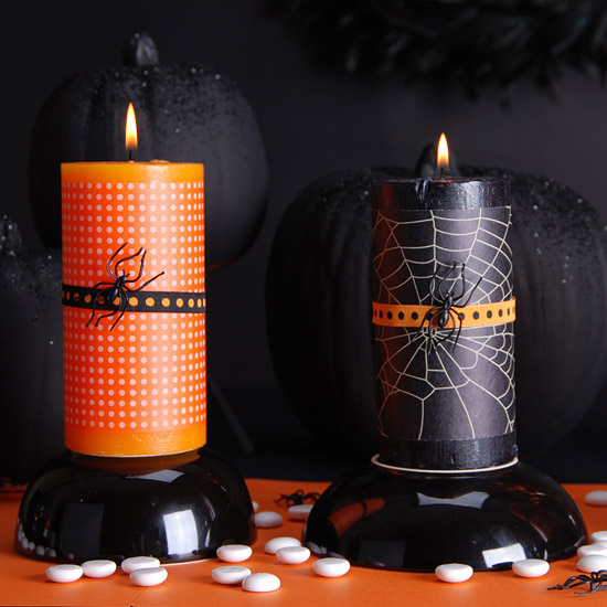 Crafts for Halloween-Orange Candle Holders