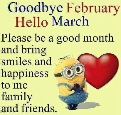 Minion Goodbye February Hello March Pictures, Photos, and
