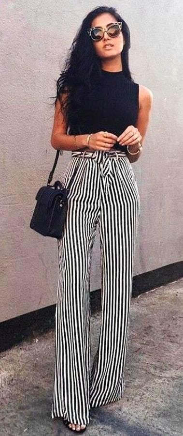 8748c9aeba Black Shirt With White And Black Striped Pants Pictures, Photos, and ...