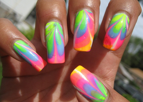 Rainbow Water Marble Nail Art Pictures Photos And Images