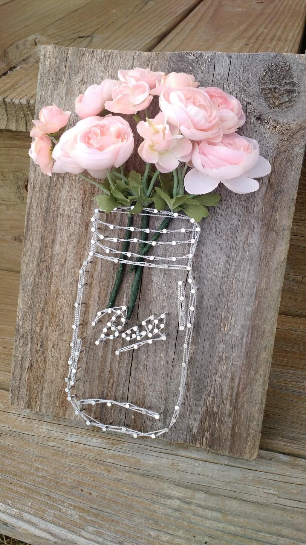 Rustic Mason Jar String Art Floral Display Pictures