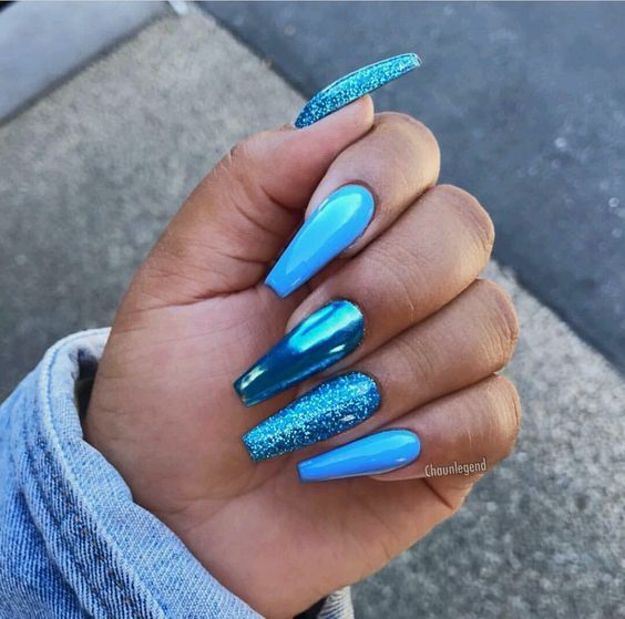 Long Blue Glitter Metallic Nails Pictures Photos And Images For Facebook Tumblr Pinterest And Twitter