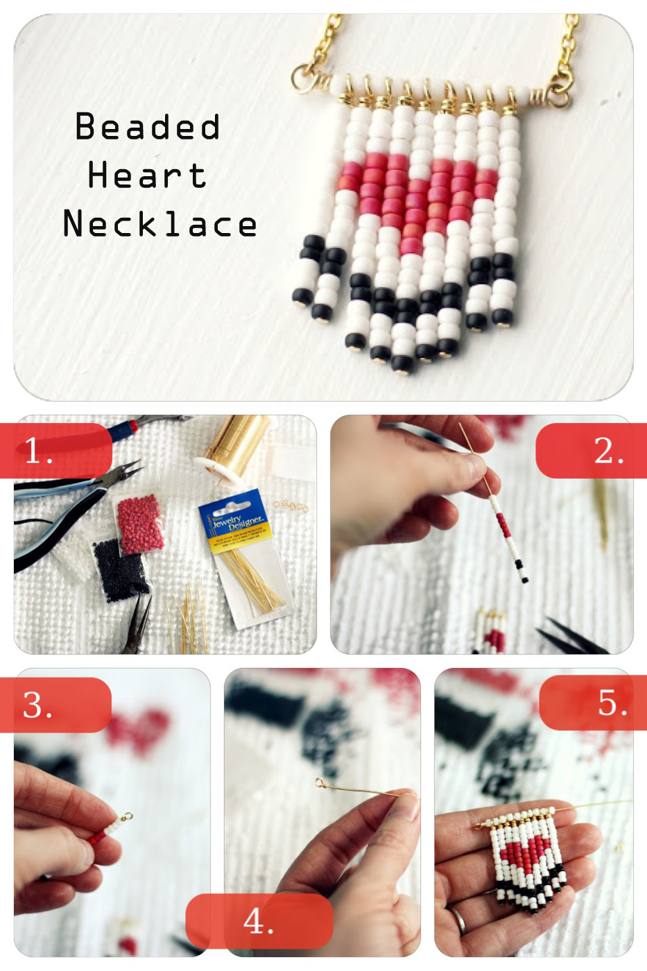 DIY Beaded Heart Necklace Pictures, Photos, and Images for