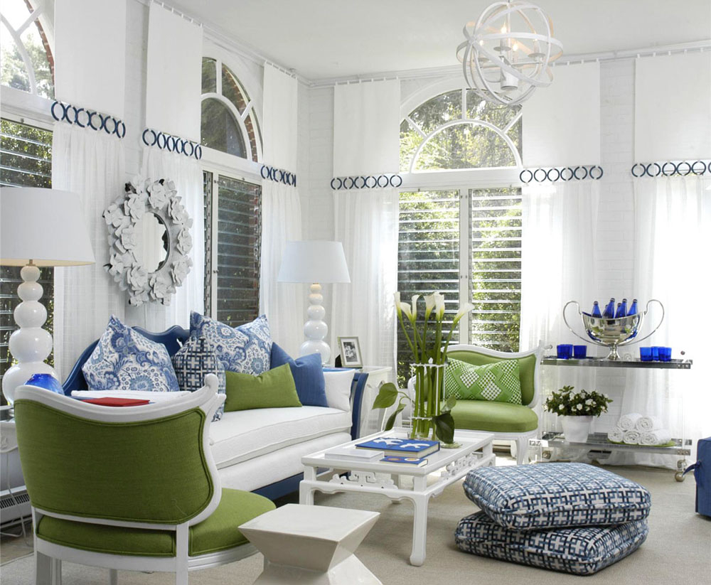 White Living Room With Blue, Green Accents
