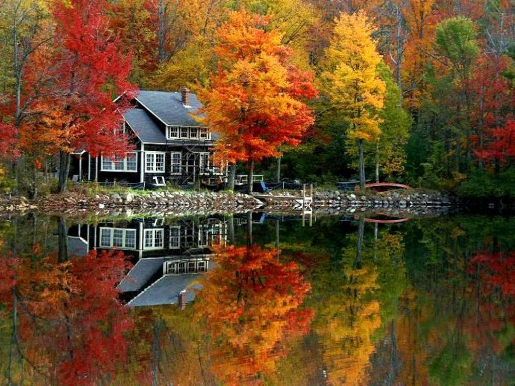 Beautiful Riverside Home In The Fall Pictures Photos And