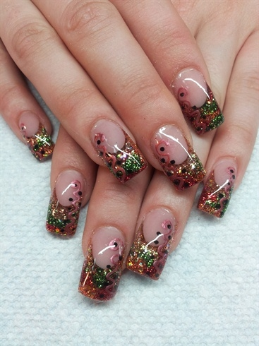 Bronze red and green glitter nail art pictures photos and images bronze red and green glitter nail art prinsesfo Images