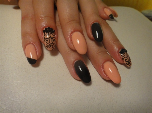 Black And Peach Nails Pictures Photos And Images For Facebook
