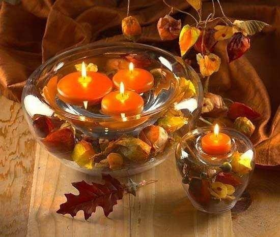 Simple and pretty autumn table centerpiece pictures