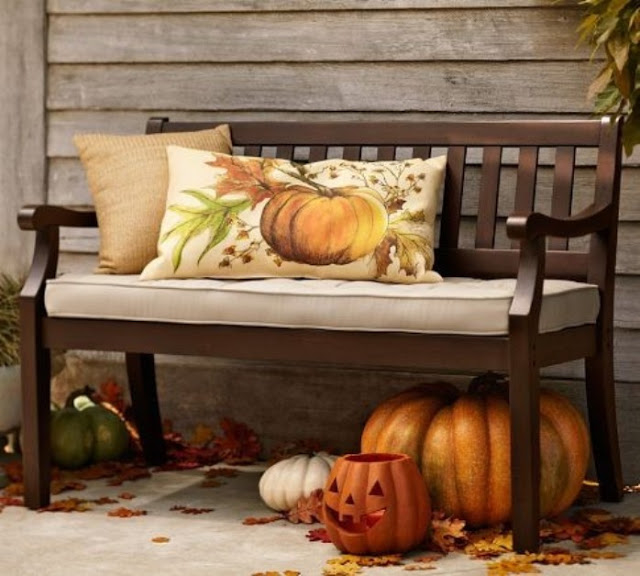 Outdoor Bench Spruced Up For Fall Pictures, Photos, And