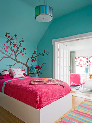 Bold Aqua And Pink Bedroom Pictures