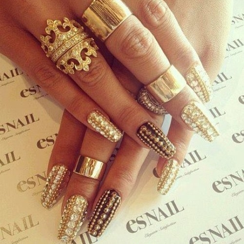 Gold Nails With Diamond Studs Pictures, Photos, and Images for ...