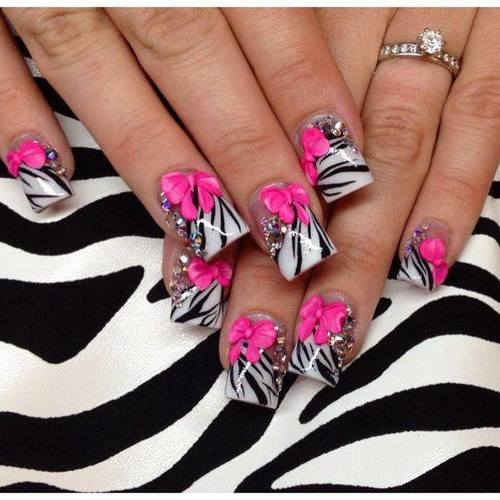 Zebra Striped Nails With Pink Bow Design Pictures Photos And
