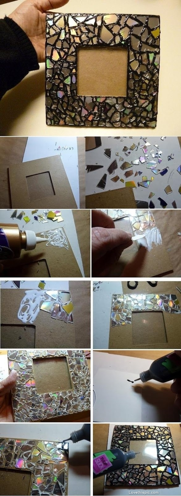 DIY Mosaic Frame from Old CDs