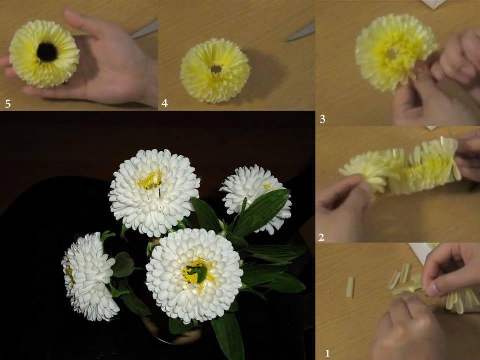 Цветок из трубочек для коктейля своими руками 799