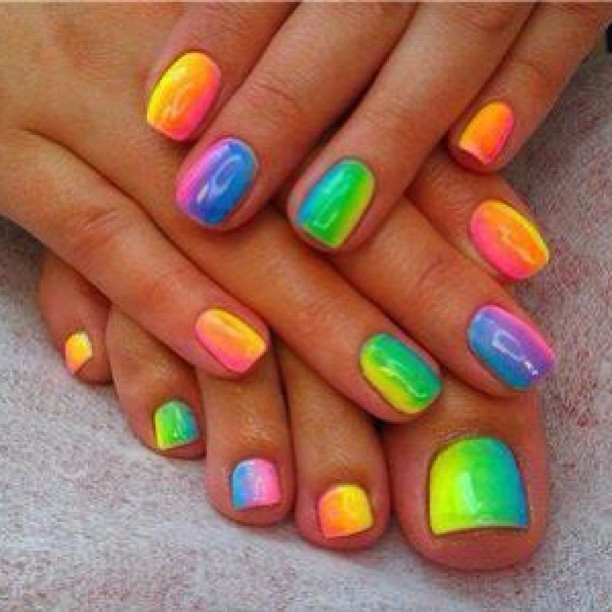 Rainbow nails and toenails