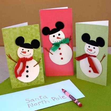Mickey mouse snowmen cards pictures photos and images - Tarjeta de navidad para ninos manualidades ...