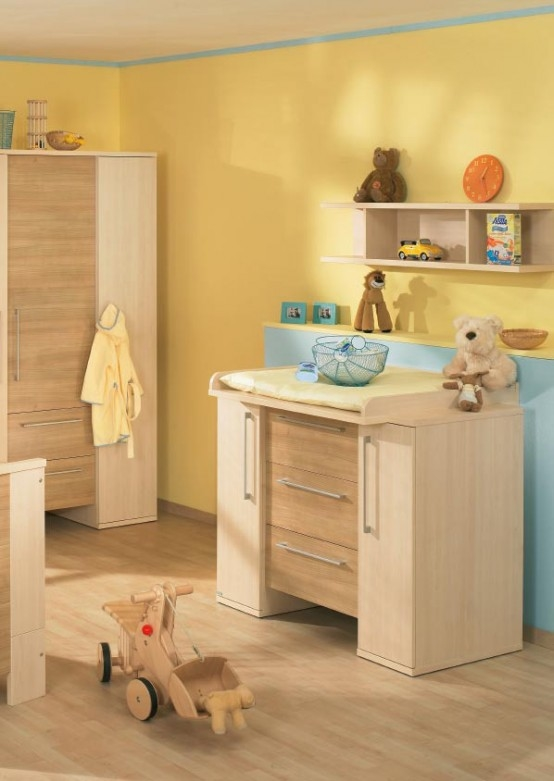 White And Wood Baby Nursery Pictures