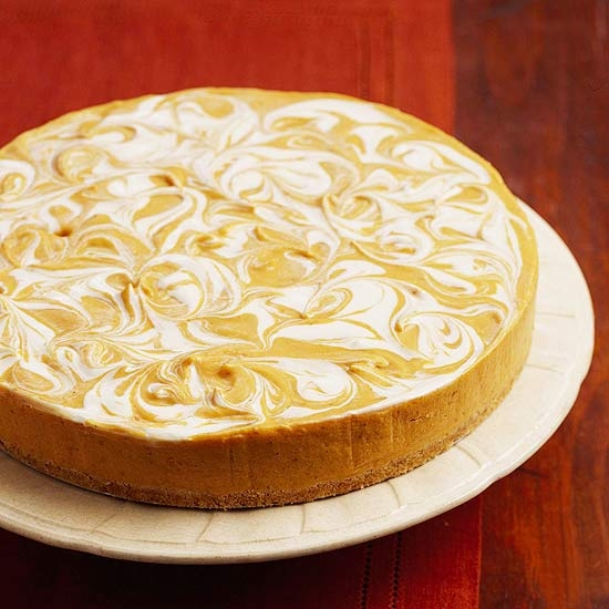 Pumpkin Swirl Cheesecakes Recipe — Dishmaps