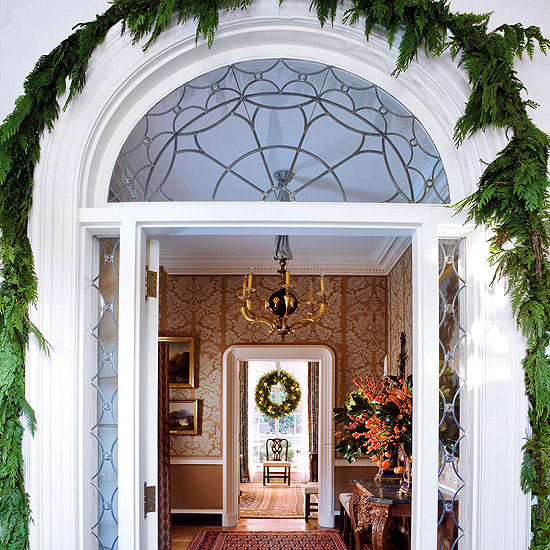 Simple front door decor pictures photos and images for for Easy front porch christmas decorations