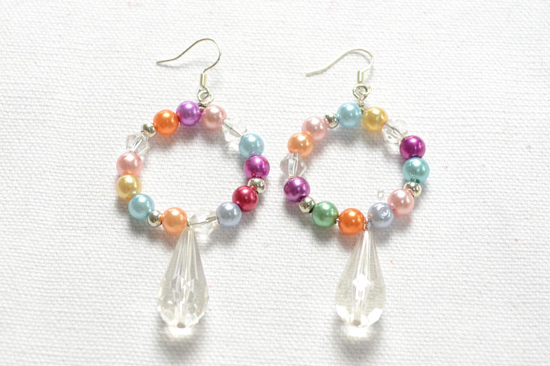 Beaded Hoop Earrings with Pearl