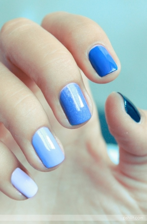 Different Nail Shapes: Different Shades Of Blue Nails Pictures, Photos, And