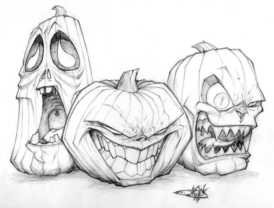 Jack O Lantern Trio Drawing Pictures Photos and Images for