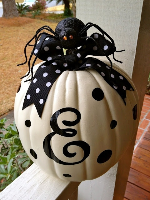 Cute no carve spider bow pumpkin pictures photos and White pumpkin carving ideas