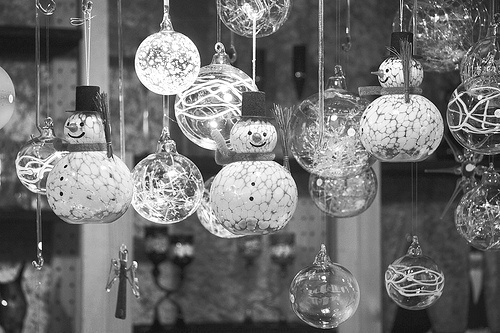 Black and white glass ornaments