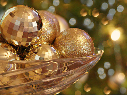Sparkling Gold Christmas Ornaments Pictures Photos And