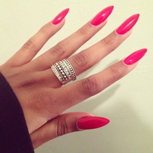 Long hot pink nails