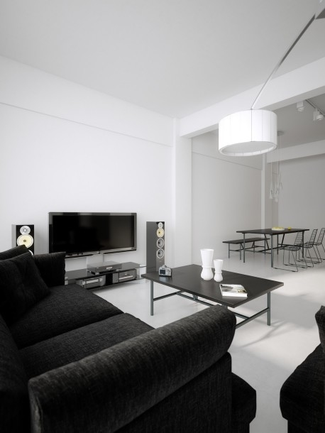 Black Sofa In All White Living Room