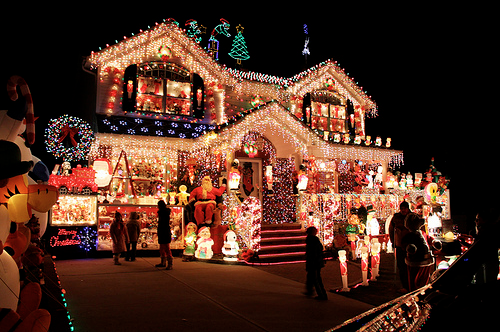 overly decorated christmas house